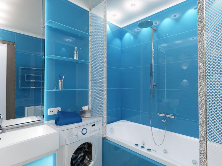 Синяя ванная комната в хрущевке - Дизайн интерьера