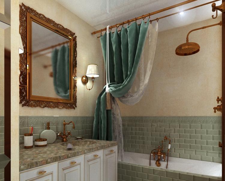 Ванная комната в хрущевке в английском стиле - Дизайн интерьера