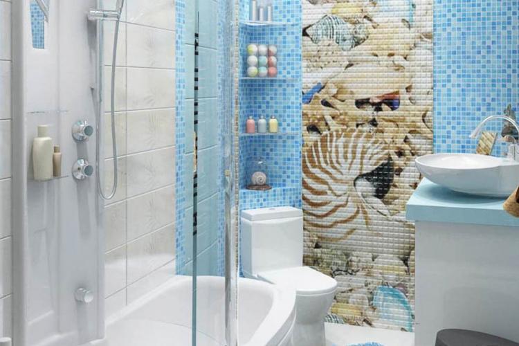 Ванная комната в хрущевке в морском стиле - Дизайн интерьера