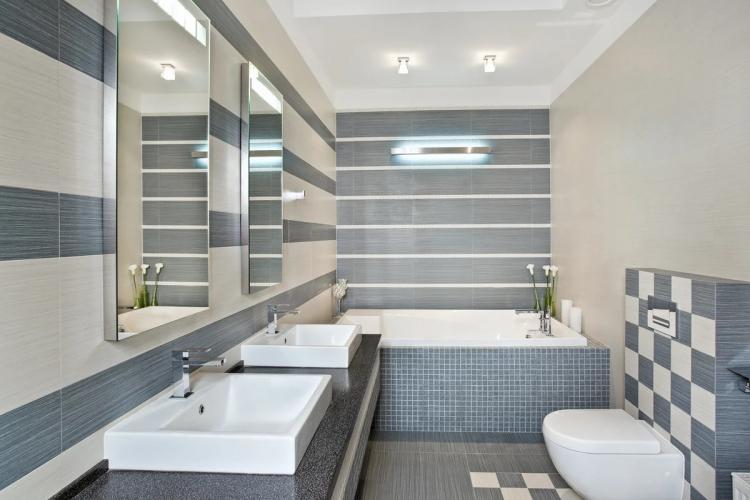 Серая ванная комната в современном стиле - Дизайн интерьера