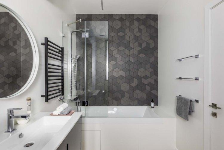 Серая ванная комната в скандинавском стиле - Дизайн интерьера