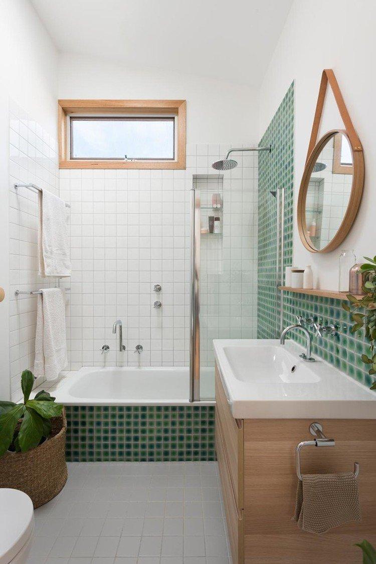 Зеленая ванная комната в скандинавском стиле - Дизайн интерьера
