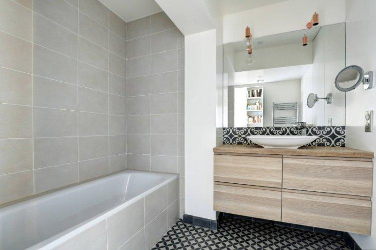 Отделка пола - Дизайн ванной комнаты в скандинавском стиле