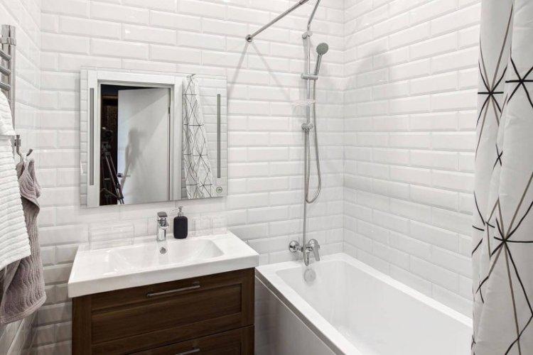 Отделка стен - Дизайн ванной комнаты в скандинавском стиле