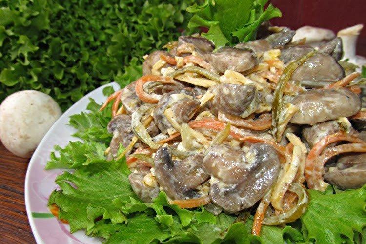 Грибной салат с сыром - Вкусные и дешевые рецепты блюд