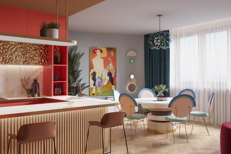 Яркая квартира для молодой семьи - дизайн интерьера