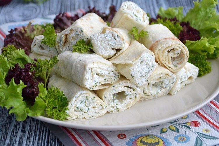 Закуска из лаваша с плавленым сыром - рецепты