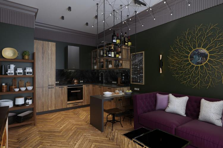 «Зеленый берег»: Дизайн кухни-гостиной
