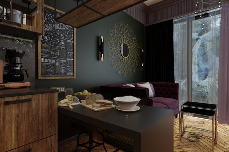 «Зелёный берег»: Дизайн кухни-гостиной