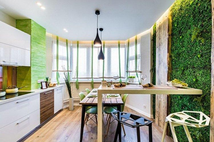 Зеленый цвет в интерьере кухни - дизайн фото