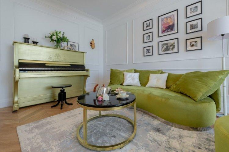Зеленый цвет в интерьере гостиной - дизайн фото