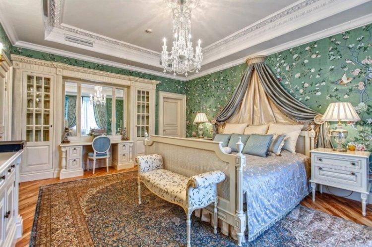 Зеленый цвет в интерьере спальни - дизайн фото