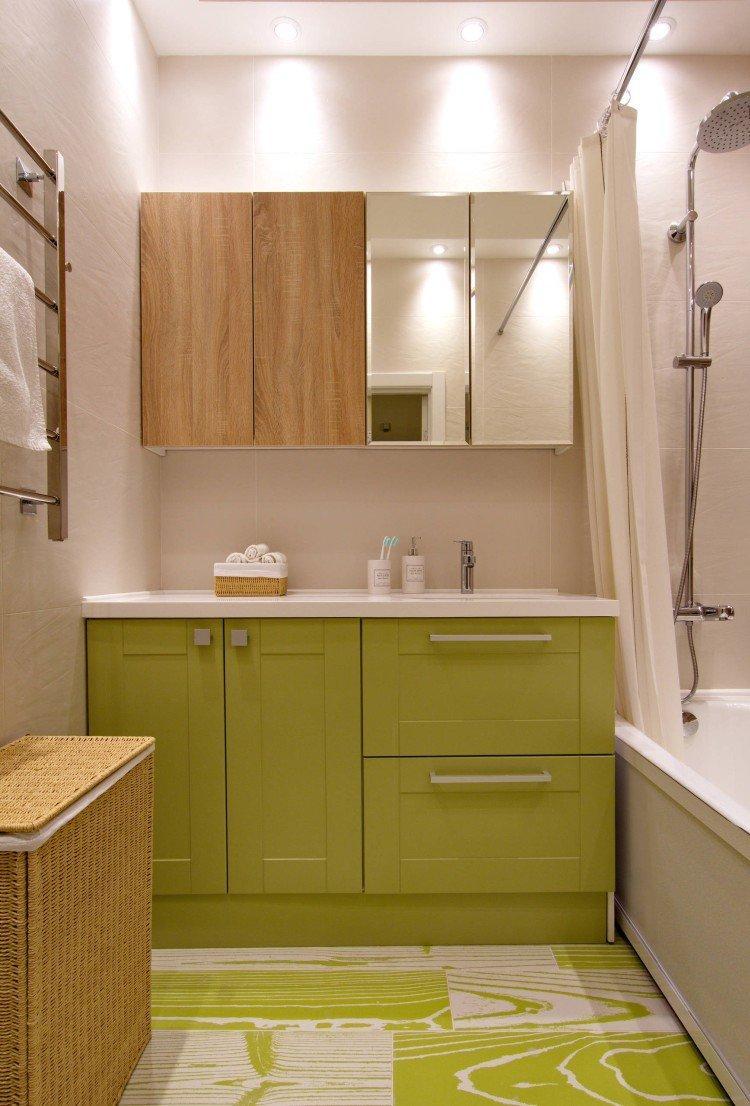 Зеленый цвет в интерьере ванной комнаты - дизайн фото