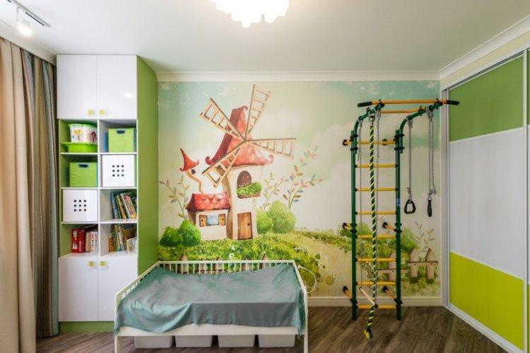 Зеленый цвет в интерьере детской комнаты - дизайн фото