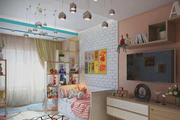 Визуальное зонирование комнаты для родителей и ребенка