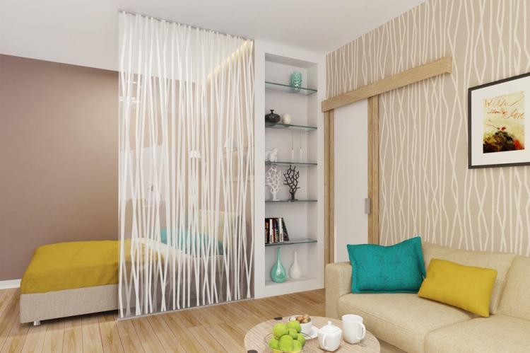 Зонирование комнаты для родителей и ребенка - фото