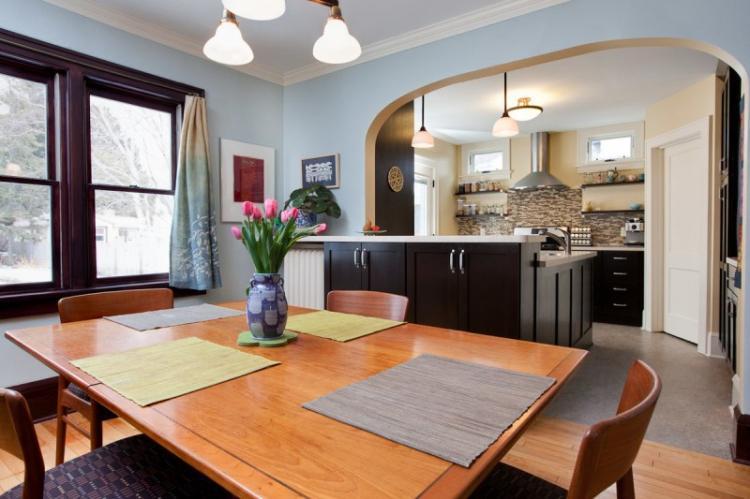 Зонирование кухни и столовой