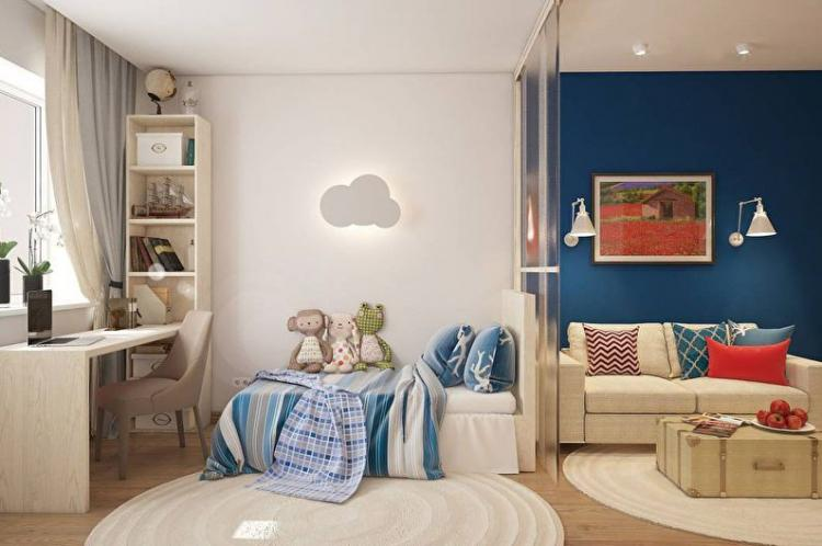 Зонирование гостиной и детской