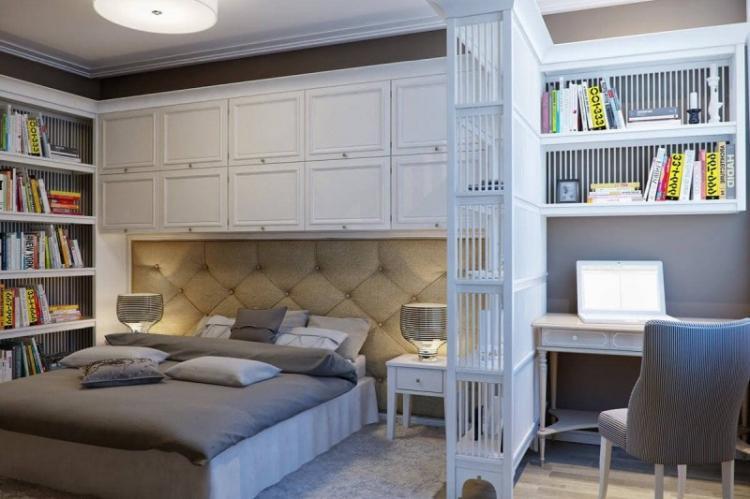 Зонирование спальни и кабинета
