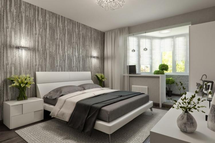 Зонирование спальни и балкона