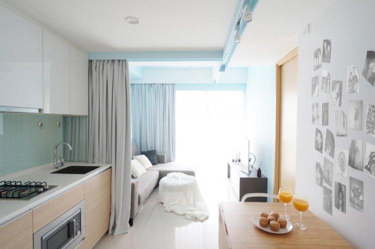 Шторы и занавески - Способы зонирования кухни и гостиной
