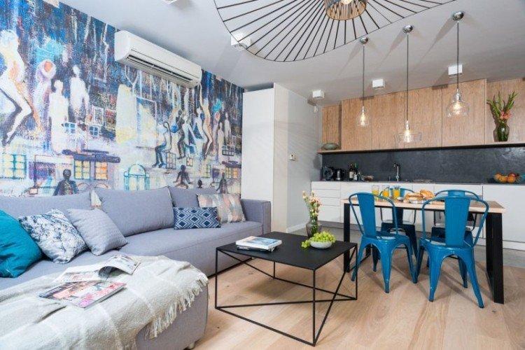 Зонирование кухни и гостиной цветом и материалами