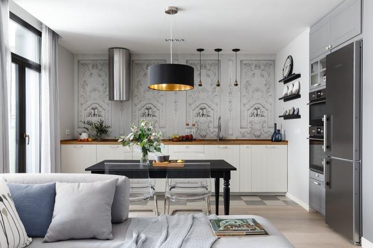 Зонирование кухни и гостиной - дизайн интерьера фото