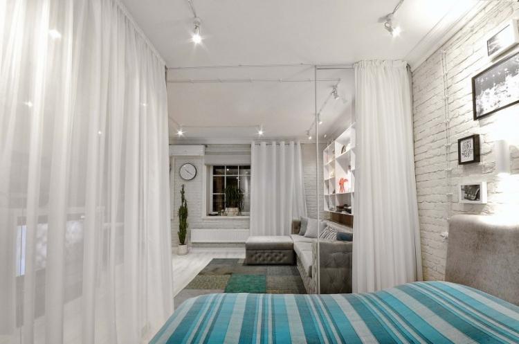 Шторы и занавески - Способы зонирования однокомнатной квартиры