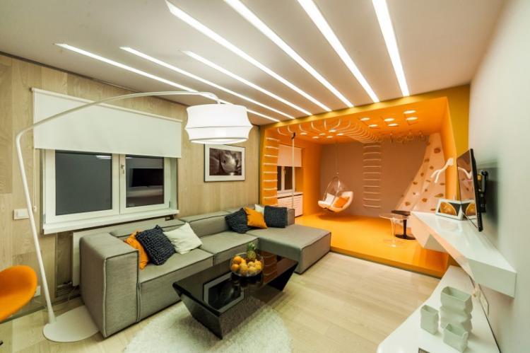 Зонирование однокомнатной квартиры освещением