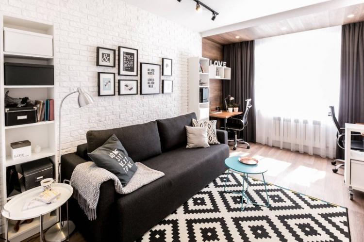 Зонирование однокомнатной квартиры цветами и фактурами
