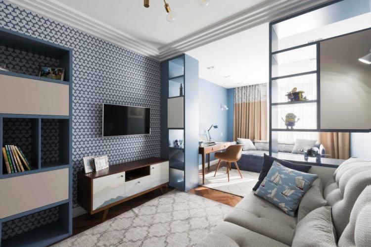 Детская комната и гостиная - Зонирование однокомнатной квартиры