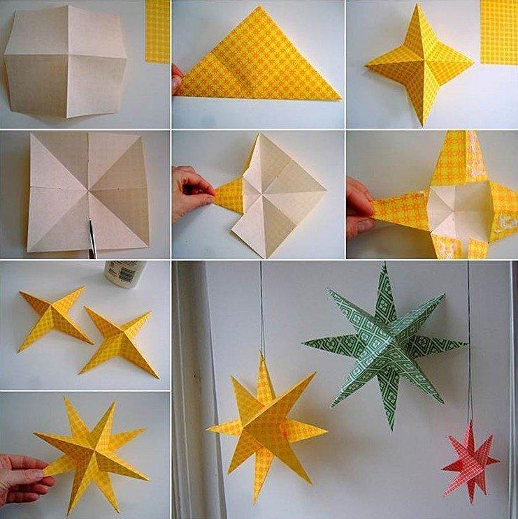 Объемная звезда на елку из бумаги своими руками
