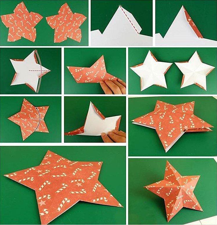 Классическая звезда на елку из бумаги своими руками