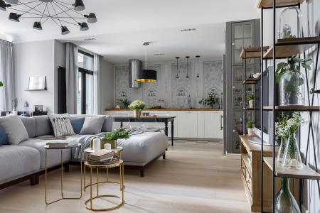 «Белые ночи»: Кухня-гостиная в скандинавском стиле