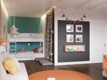 Интерьер детской комнаты для братьев-близнецов
