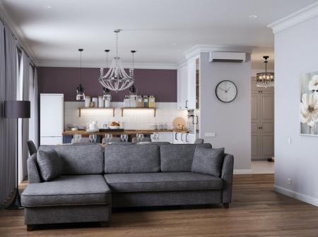 Дизайн кухни-гостиной «Красота в простоте»