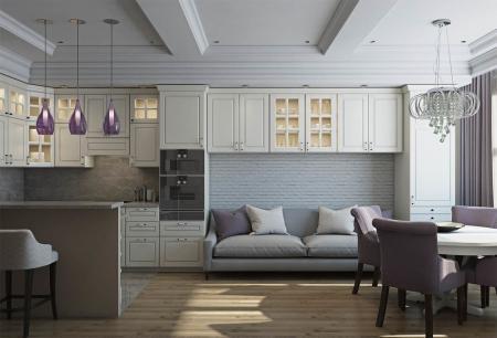 Кухня-гостиная в стиле современная классика