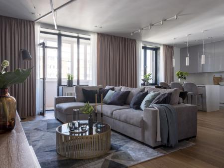 Дизайн квартиры в современном стиле, 109 кв.м.