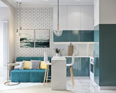 Дизайн маленькой квартиры в морском стиле, Москва