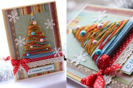Новогодние открытки своими руками: красивые идеи (50 фото)