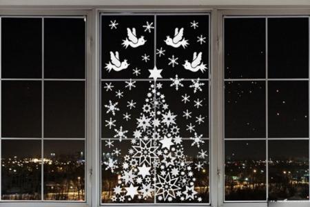 Новогодние трафареты 2021 для вырезания на окна (60 фото)
