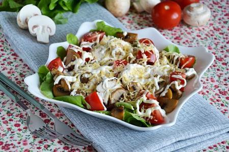 20 простых и очень вкусных салатов с шампиньонами