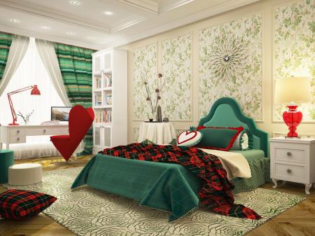 Дизайн-проект спальни «Шотландская роза»